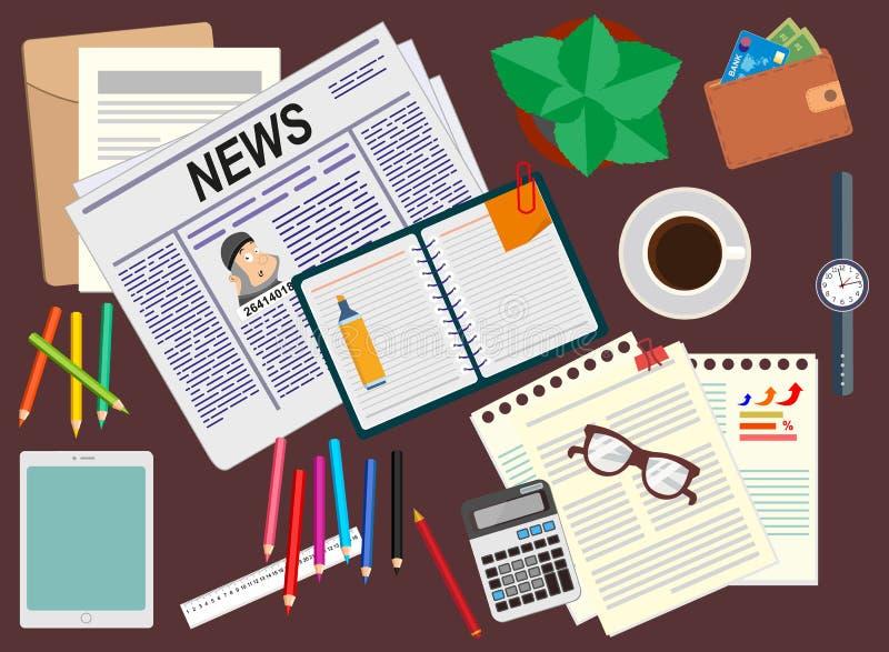 办公室 书桌 现实工作场所组织 顶视图 库存例证