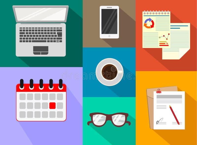 办公室 办公设备和文教用品 被设置的图标 也corel凹道例证向量 库存例证