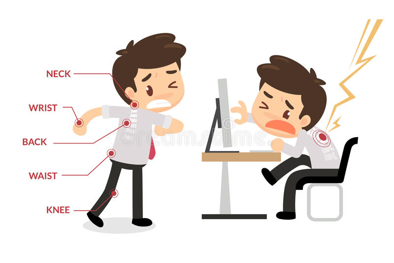 办公室综合症状信息图表 库存例证