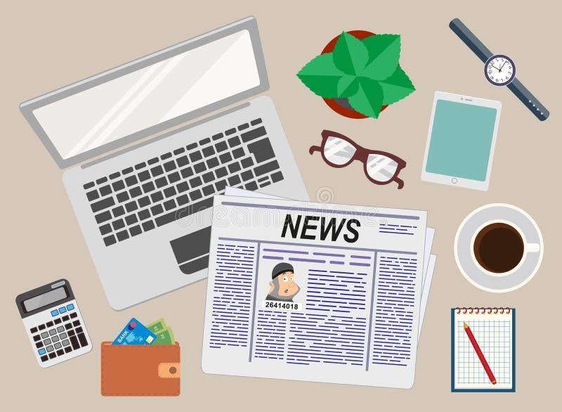 办公室 工作 生意人的服务台 顶视图 膝上型计算机、报纸、钱包、片剂、手表、计算器和咖啡 库存例证