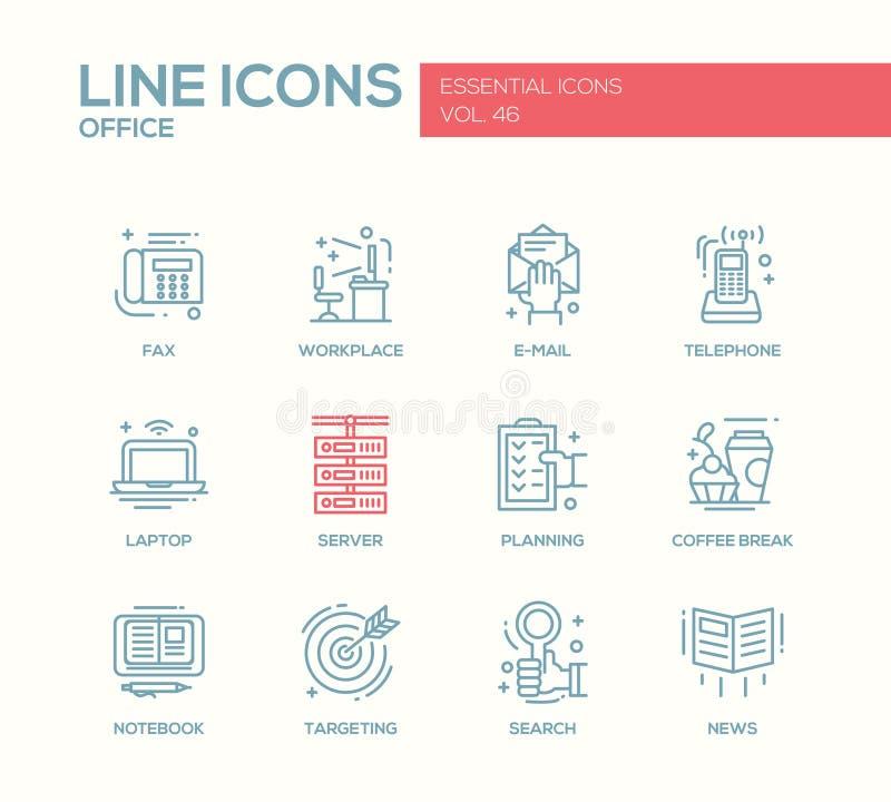 办公室-平的设计线被设置的象 向量例证