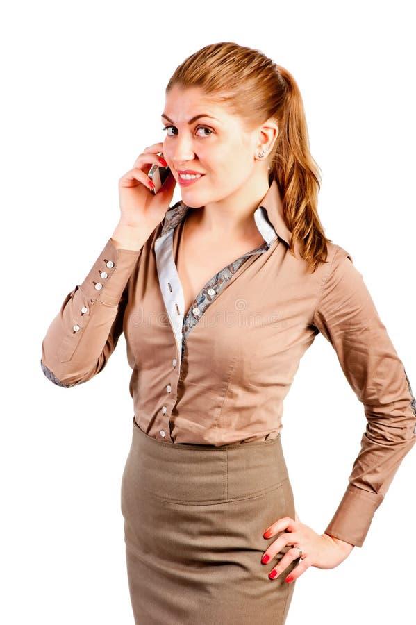 办公室经理由电话谈话 库存照片