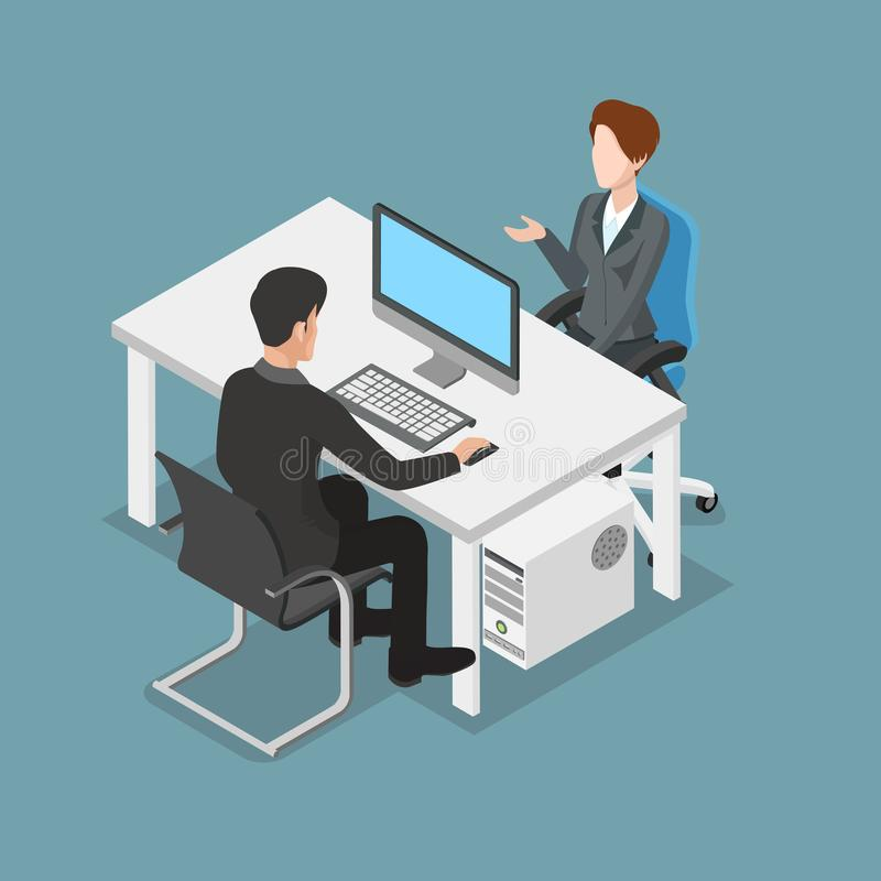 办公室3d事务的平的等量人 向量例证
