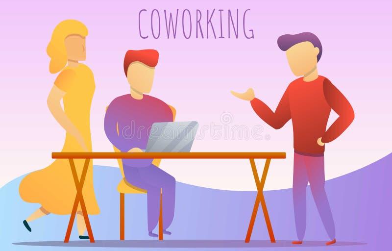 办公室coworking的概念横幅,动画片样式 向量例证