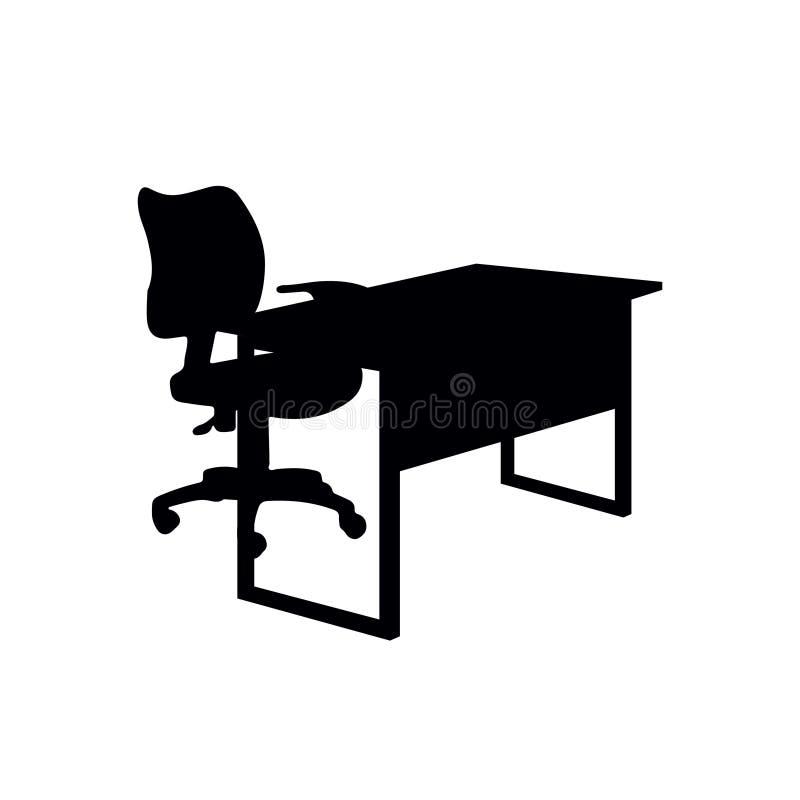 办公桌剪影 免版税库存照片