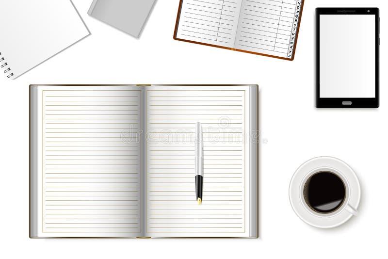 办公桌大模型有智能手机、笔记本和一杯咖啡的 现实阴影 库存例证