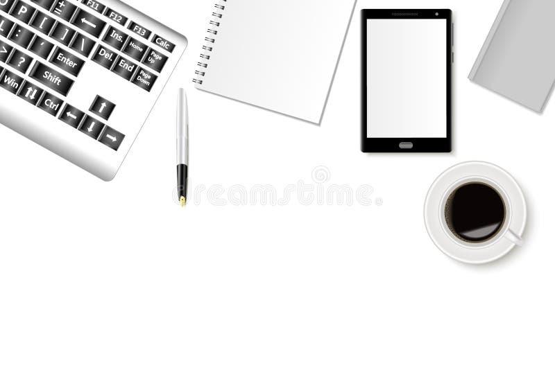 办公桌大模型有智能手机、键盘、笔记本和一杯咖啡的 现实阴影 库存例证