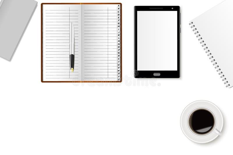 办公桌大模型有的笔记本、智能手机、钢笔和一杯咖啡 现实阴影 库存例证