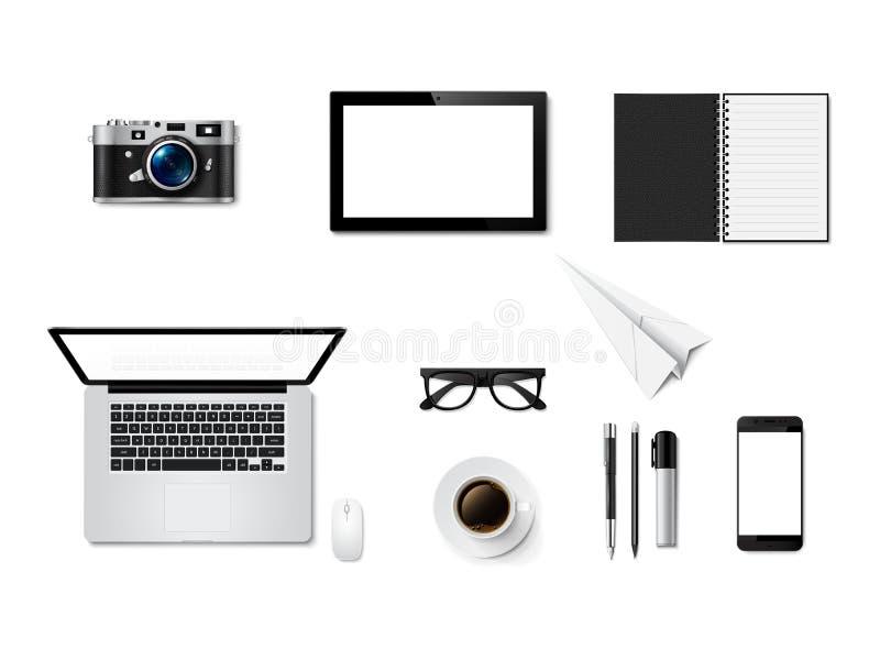 办公桌桌,工作区顶视图  向量例证