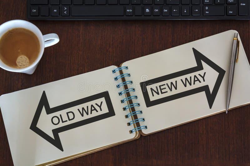 办公桌顶视图有在笔记本和老方式新的方式的写的办公室辅助部件 免版税库存图片