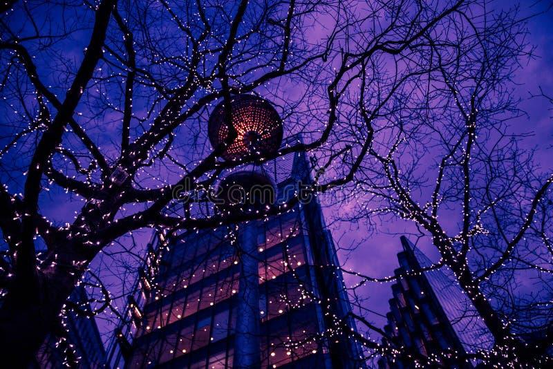 办公楼和树在日落在市伦敦 库存照片