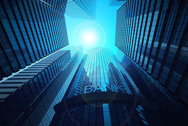 办公楼和银行 库存例证