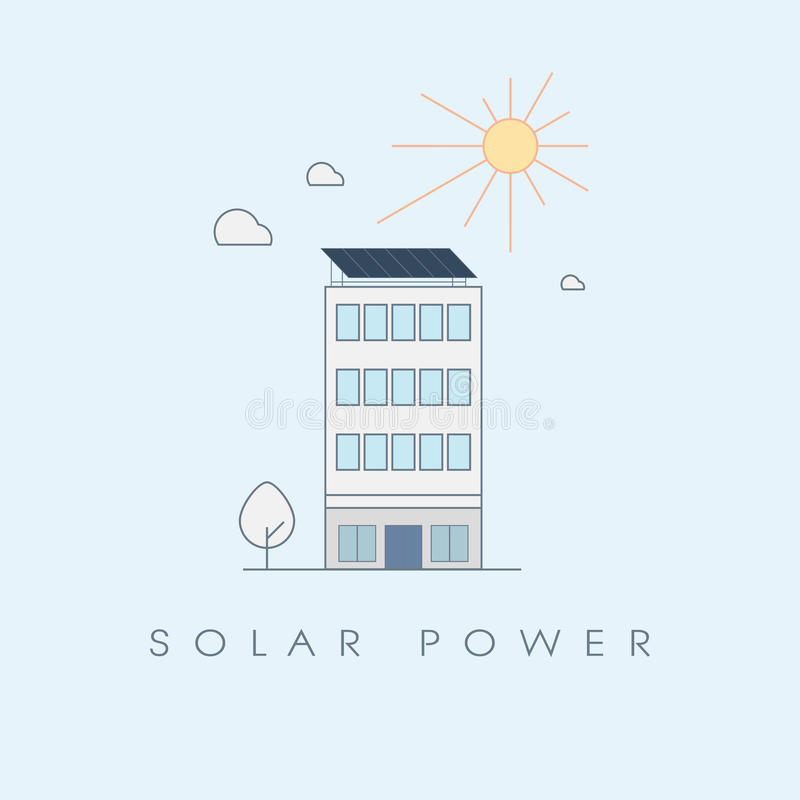办公楼的太阳能概念 生态能承受的可再造能源技术标志 库存例证
