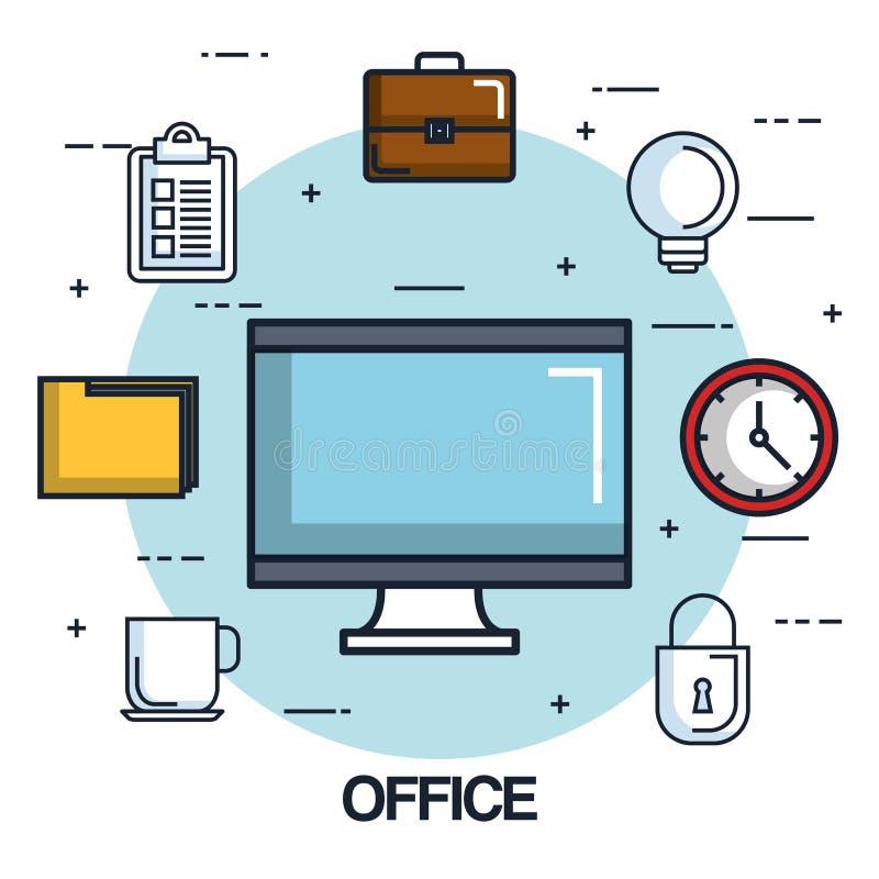 办公计算机显示器时钟文件夹公文包清单 皇族释放例证