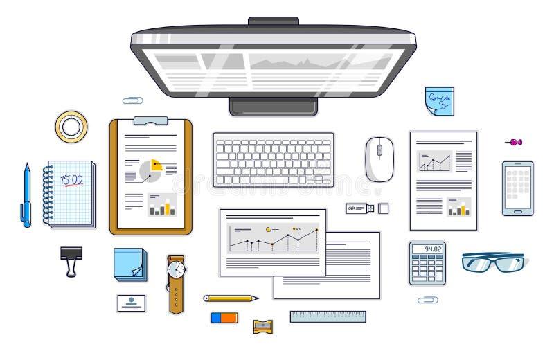 办工室职员或企业家工作有个人计算机comp的书桌工作场所 库存例证