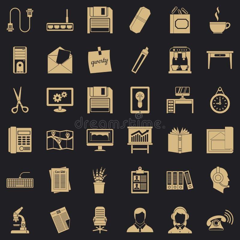 办工用计算机象集合,简单的样式 库存例证