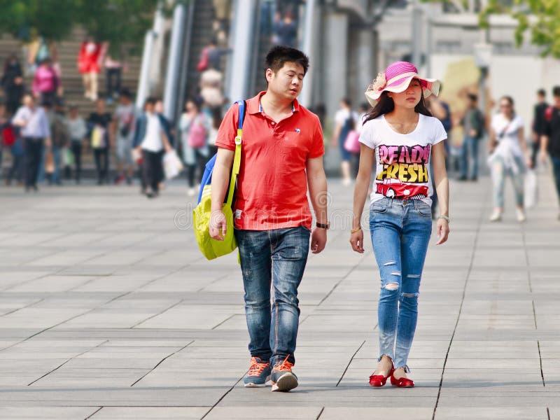 年轻加上关系发布,北京,中国 图库摄影