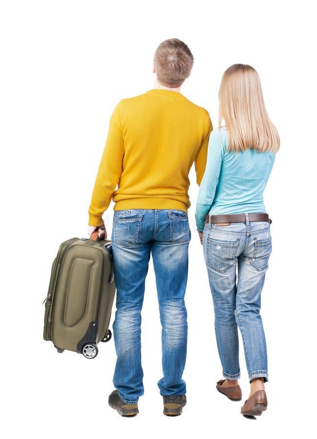 加上后面看法查寻绿色的手提箱 免版税库存图片