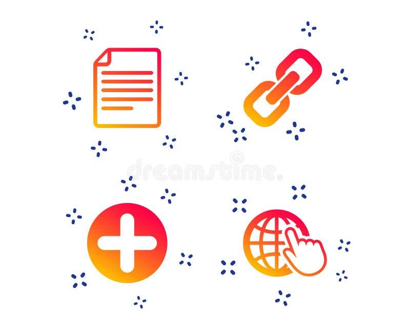 加上圈子和超链接标志 文件,地球 ?? 库存例证