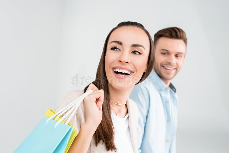 加上看在白色的购物袋 库存图片