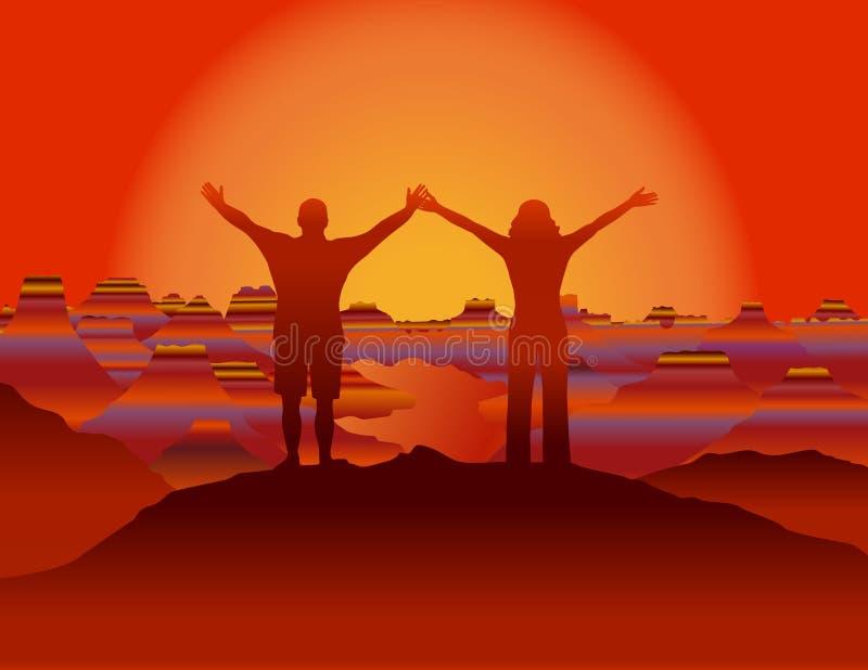 加上站起来在山上面的手在看美好的风景的日落 库存例证