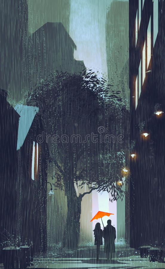 加上走在下雨的红色伞街道中在晚上 皇族释放例证
