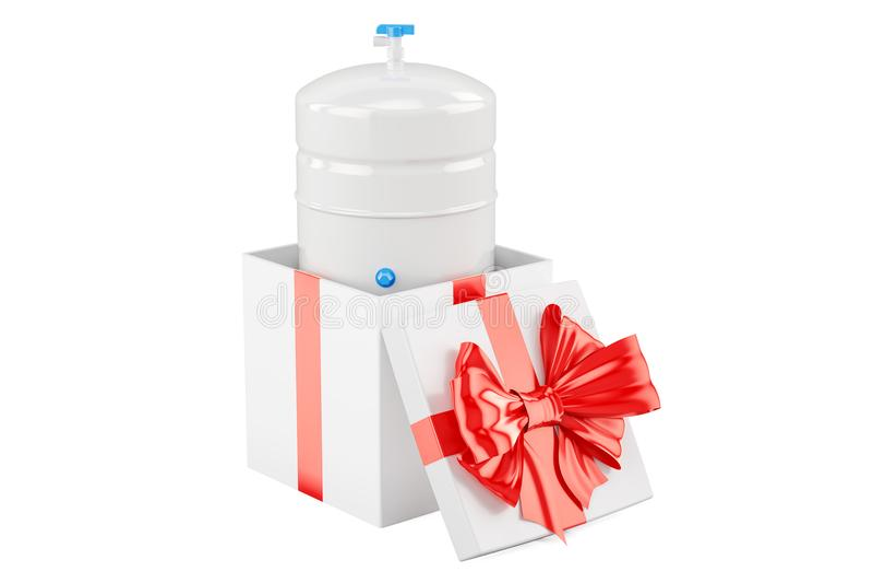 加仑从反渗透系统的储存箱在礼物盒里面, 库存例证