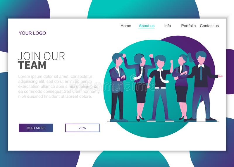 加入我们的网站登录页概念 为工作概念找到合适的人 向量例证