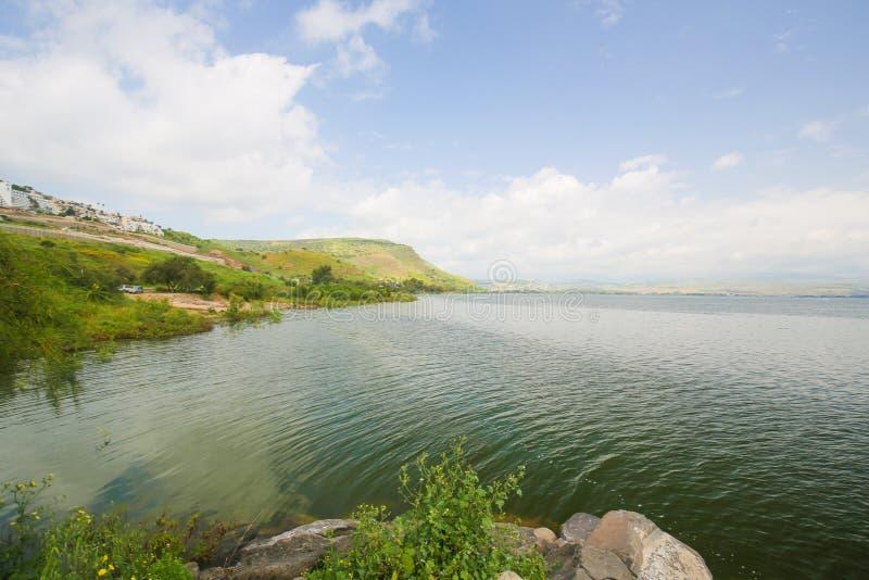 加利利海在提比里亚,以色列 库存照片