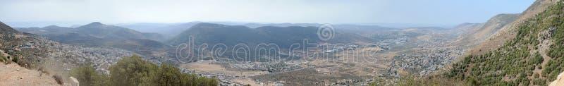 从加利利海的全景向地中海,以色列 库存照片