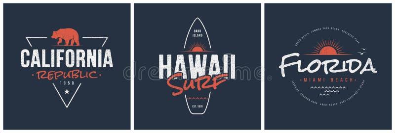 加利福尼亚共和国、夏威夷海浪和佛罗里达设计 向量例证