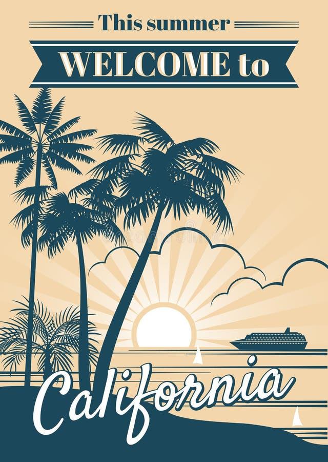 加利福尼亚共和国与棕榈树,体育T恤杉冲浪的图表的传染媒介海报 库存例证