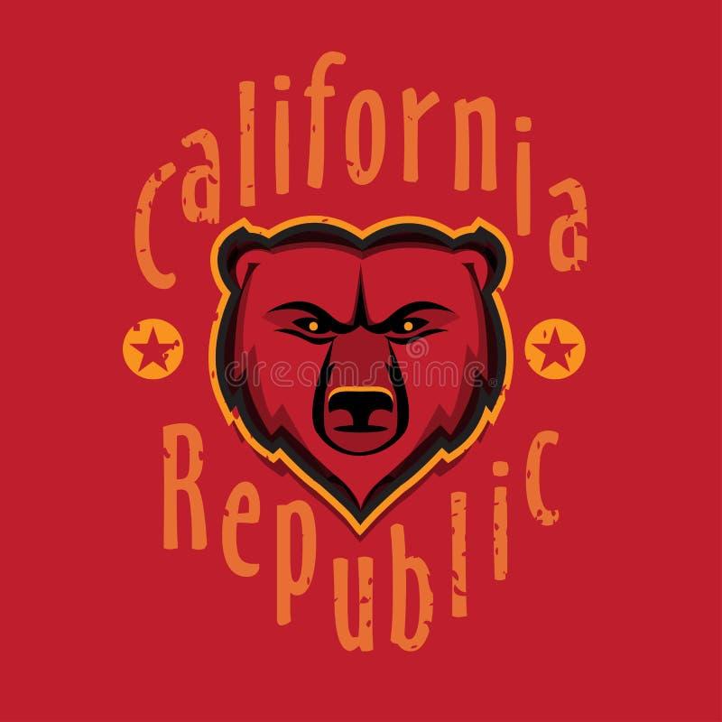 加利福尼亚共和国服装T恤杉时尚设计,北美灰熊头图表,印刷艺术,墨水图画例证 库存例证
