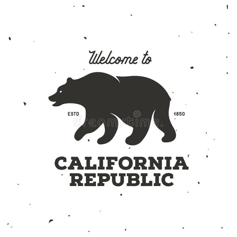 加利福尼亚共和国T恤杉向量图形 葡萄酒样式例证 皇族释放例证