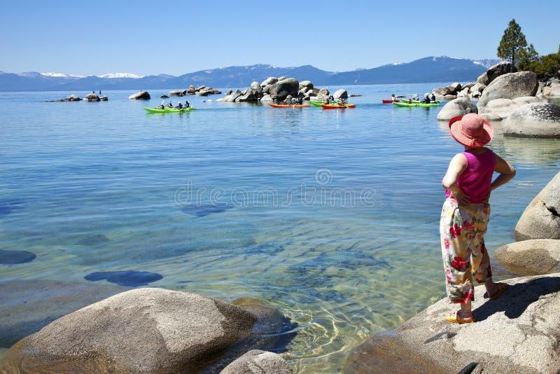 加利福尼亚划皮船Tahoe湖 免版税库存照片