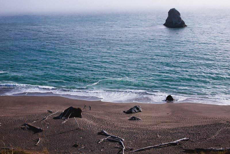 加利福尼亚北海岸的海滩步行者 库存图片