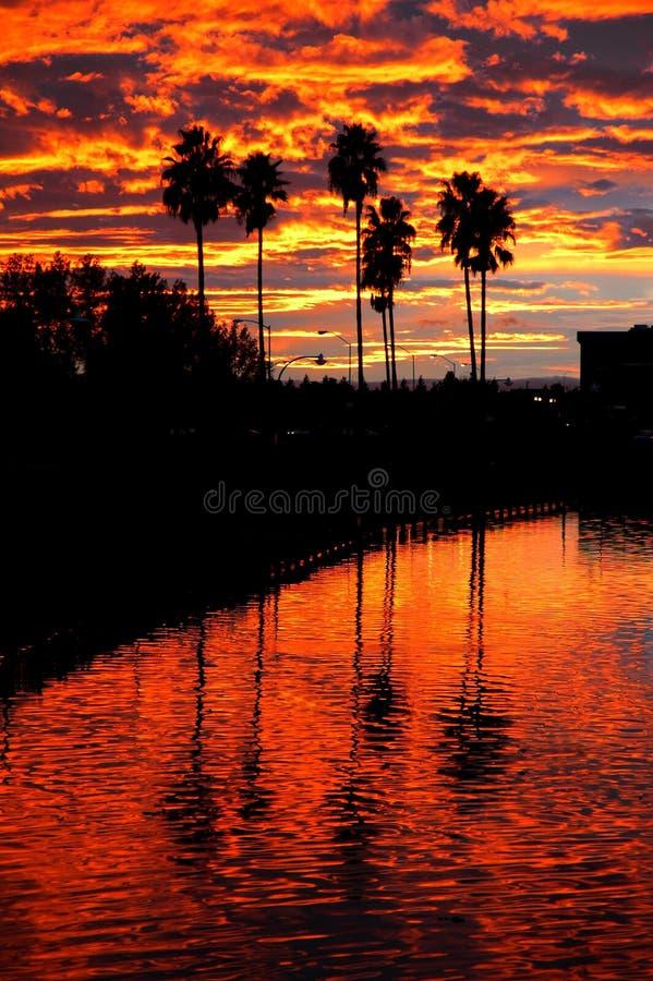 加利福尼亚反射了日落 免版税库存照片