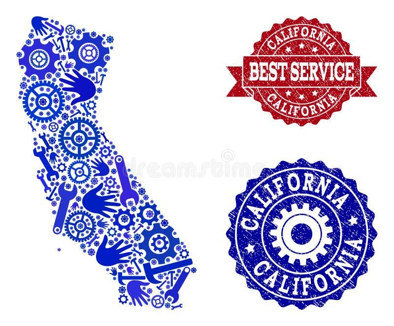 加利福尼亚和橡胶水印地图最佳的服务拼贴画  向量例证
