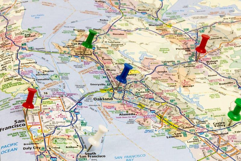 加利福尼亚地图旧金山奥克兰 库存照片