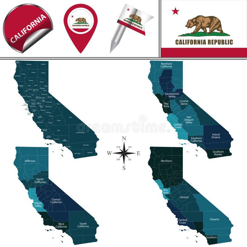 加利福尼亚地图有地区的 皇族释放例证
