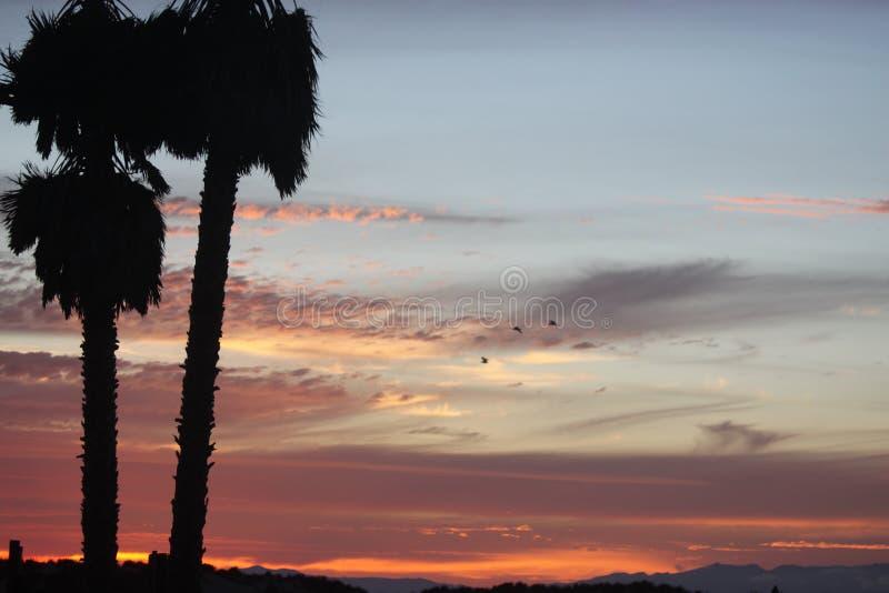 加利福尼亚日落和云彩 免版税库存照片