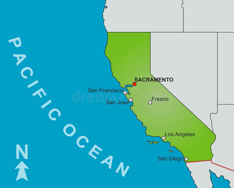 加利福尼亚映射状态 皇族释放例证