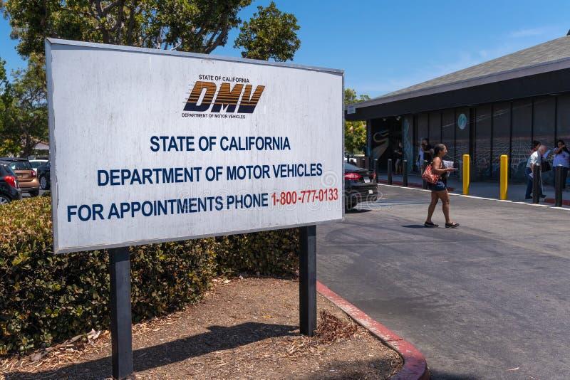 加利福尼亚机动车管理部标志 库存图片