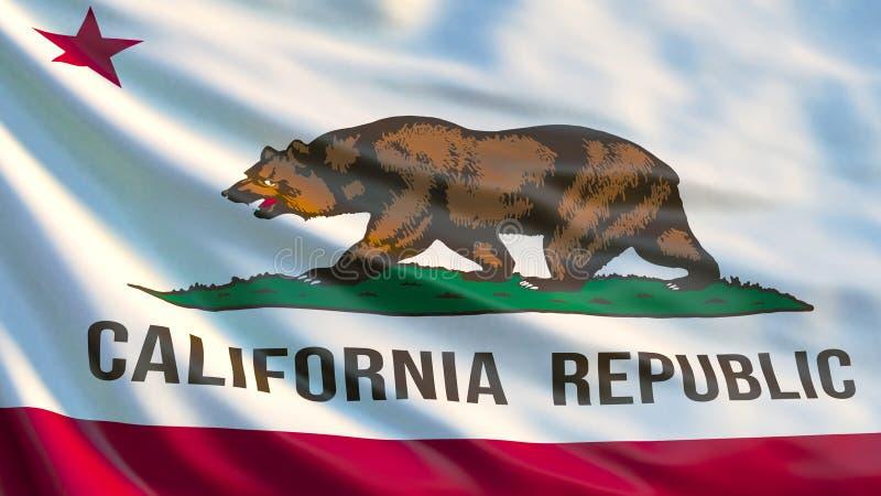 加利福尼亚标记状态 加利福尼亚状态,美国挥动的旗子  库存例证