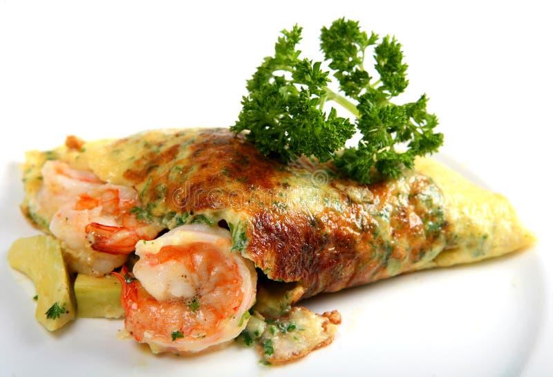 加利福尼亚水平的omlette大虾 库存图片