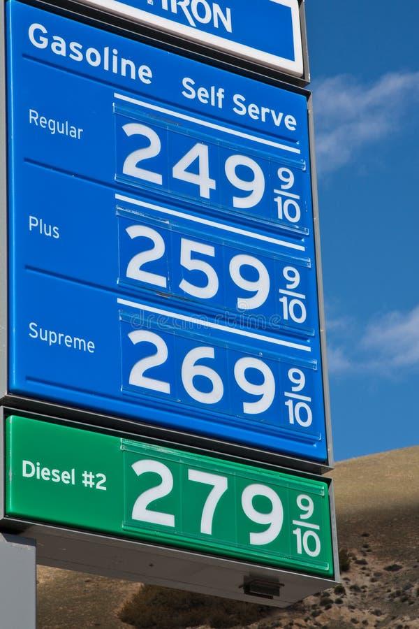 加利福尼亚汽油价格 库存照片