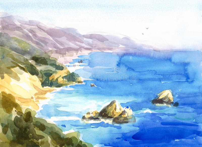 加利福尼亚海岸海景水彩手画自然的例证 向量例证
