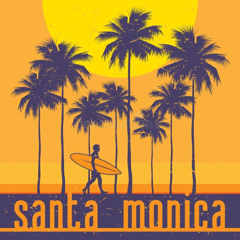 加利福尼亚海岸,圣塔蒙尼卡海滩,冲浪者海报 皇族释放例证