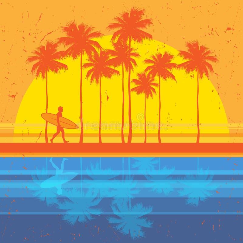 加利福尼亚海滩,冲浪者海报 向量例证