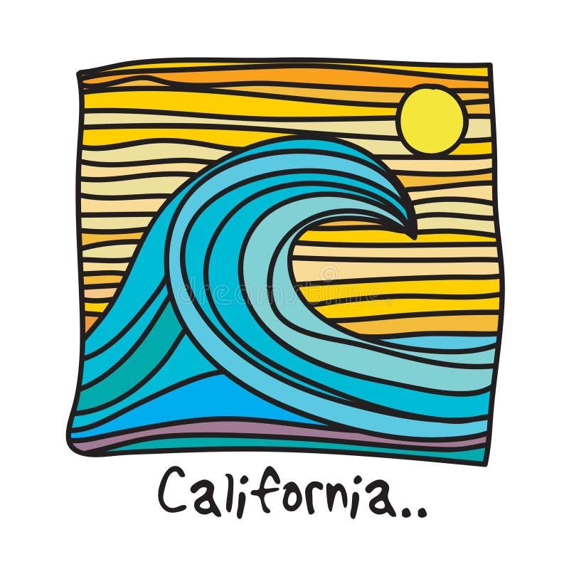 加利福尼亚海滩,冲浪者海报 皇族释放例证